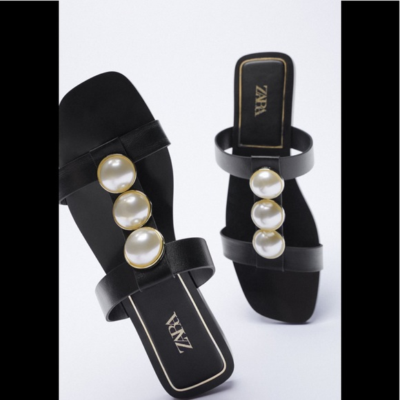 Zara low heel leather sandals with pearls straps